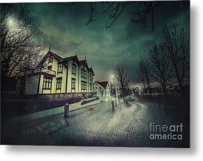 Silent Night Street Metal Print by Svetlana Sewell