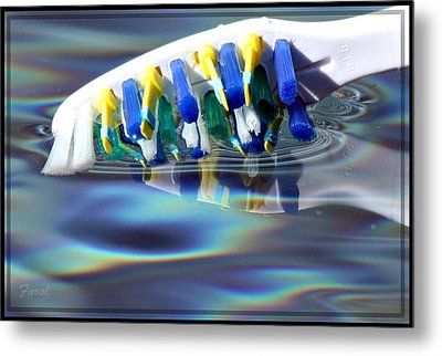 Silent Toothbrush Metal Print by Farol Tomson