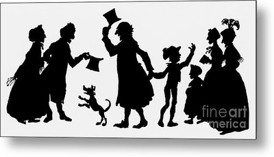 Silhouette Illustration From A Christmas Carol By Charles Dickens Metal Print by English School
