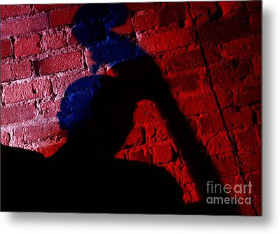 Silhouette Of A Jazz Musician 1964 Metal Print by The Harrington Collection