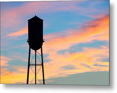Silhouette Of Small Town Water Tower Metal Print by Todd Klassy