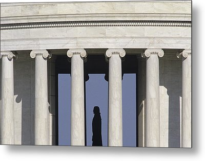 Silhouette Of The Jefferson Memorial Metal Print by Kenneth Garrett