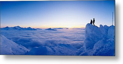 Silhouette Of Two Hikers Standing Metal Print by Panoramic Images