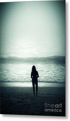 Silhouette On The Beach Metal Print by Carlos Caetano