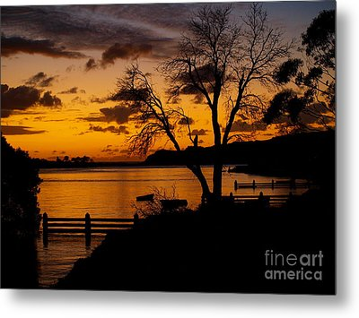 Silhouettes At Sunrise Metal Print