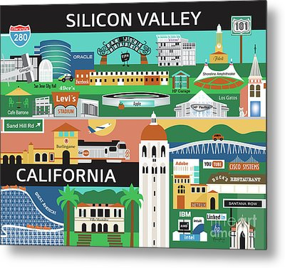 Silicon Valley California Horizontal Scene - Collage Metal Print