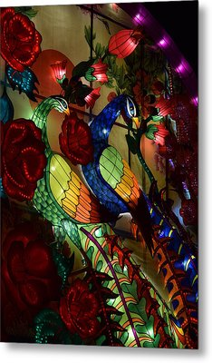 Silk Peacocks Metal Print