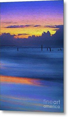 Silky Sunrise Reflections Outer Banks Ap Metal Print by Dan Carmichael