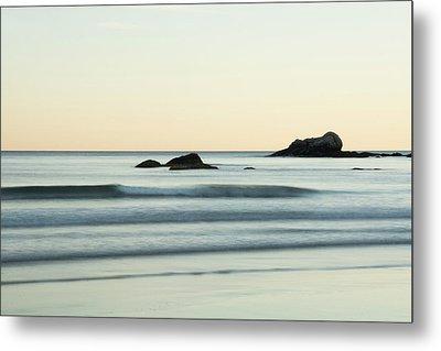 Silky Water And Rocks On The Rhode Island Coast Metal Print by Nancy De Flon