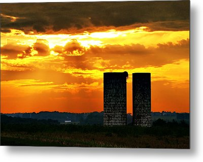 Silos At Sunset Metal Print