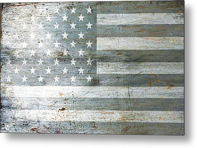 Silver American Flag Metal Print