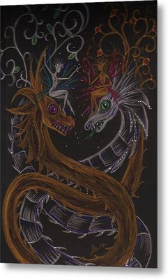 Metal Print featuring the drawing Silver And Gold by Dawn Fairies
