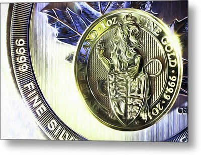 Metal Print featuring the digital art Silver And Gold by JC Findley