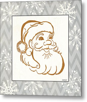 Silver And Gold Santa Metal Print