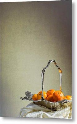 Silver Fruit Basket Metal Print