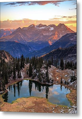 Silver Glance Lake Ig Crop Metal Print by Johnny Adolphson