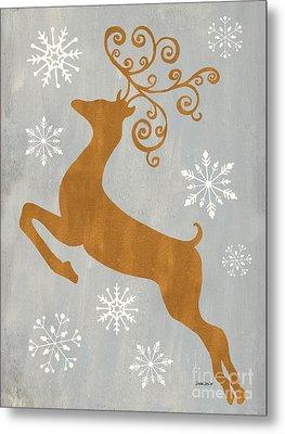 Silver Gold Reindeer Metal Print by Debbie DeWitt