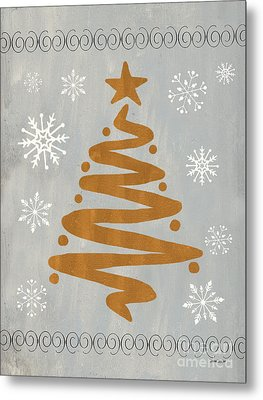 Silver Gold Tree Metal Print