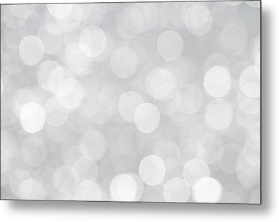 Silver Grey Bokeh Abstract Metal Print