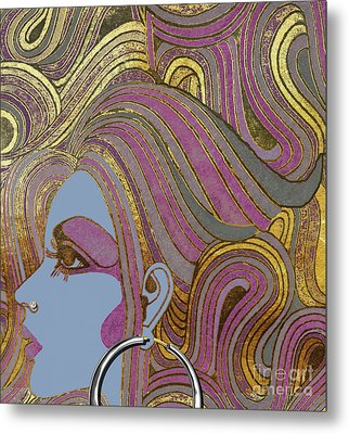 Silver Hoop Retro Fashion Girl Metal Print by Mindy Sommers