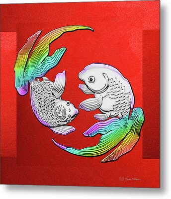 Silver Japanese Koi Goldfish Over Red Canvas Metal Print