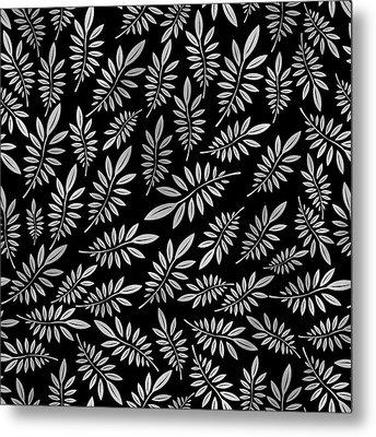 Silver Leaf Pattern 2 Metal Print by Stanley Wong