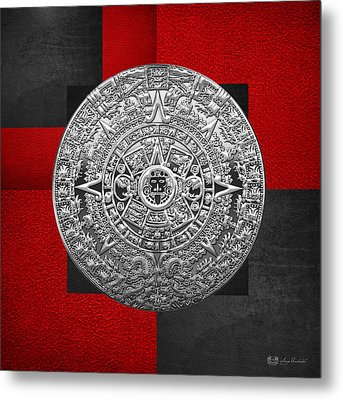 Silver Mayan-aztec Calendar On Black And Red Leather Metal Print by Serge Averbukh