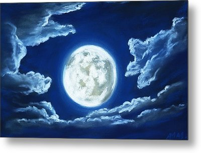 Silver Moon - Sky And Clouds Collection Metal Print