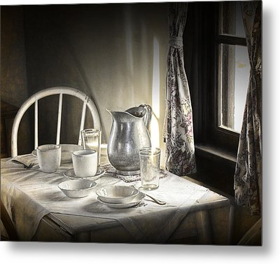 Silver Pitcher In A Vintage Table Setting Metal Print