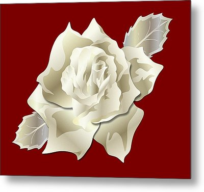 Metal Print featuring the digital art Silver Rose Graphic by MM Anderson