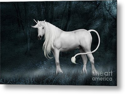 Silver Unicorn Standing In Miisty Forest Metal Print