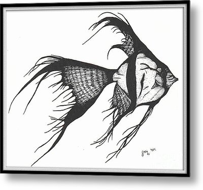 Silver Veiltail Angelfish Fish Art Metal Print by Cathy Peek