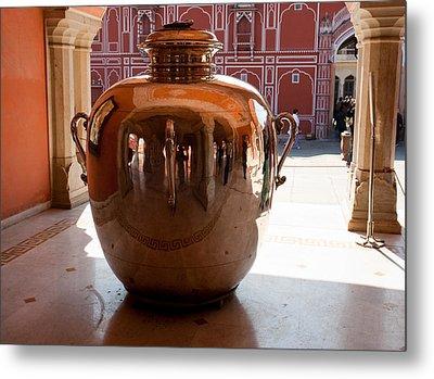 Silver Water Urn Jaipur Metal Print by Ashish Agarwal