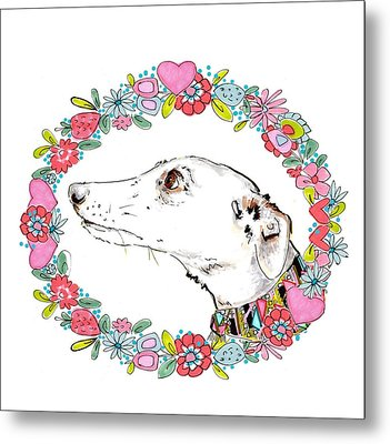Silvertips Greyhound With Floral Border  Metal Print
