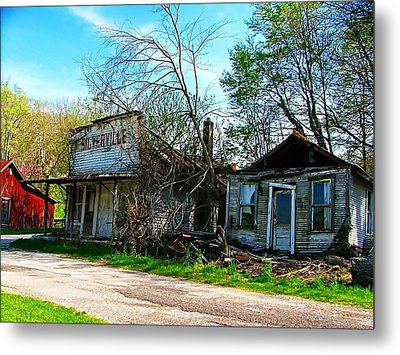 Silverville Ghost Town In Blues Metal Print