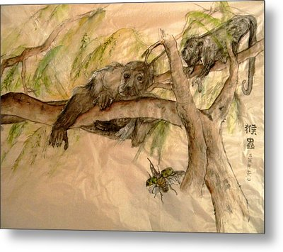 Metal Print featuring the painting Simian And Beetle by Debbi Saccomanno Chan