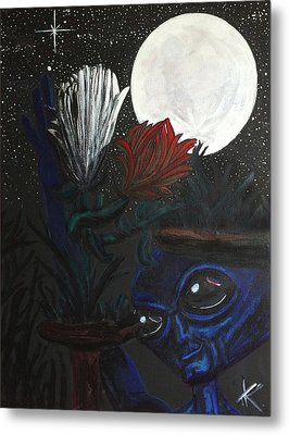 Metal Print featuring the painting Similar Alien Appreciates Flowers By The Light Of The Full Moon. by Similar Alien