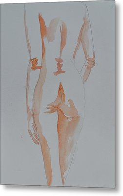 Metal Print featuring the painting Simple Nude by Beverley Harper Tinsley