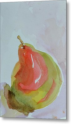 Metal Print featuring the painting Simple Pear by Beverley Harper Tinsley