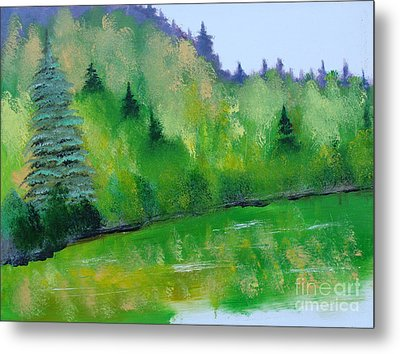 Metal Print featuring the painting Simply Green by Rod Jellison