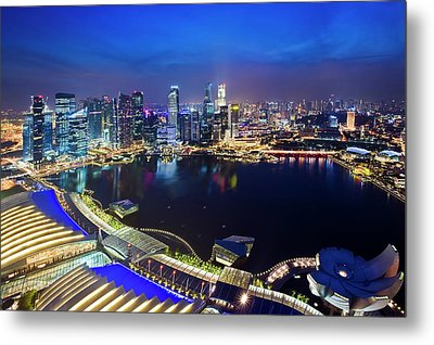 Singapore - View From Marina Bay Sands Metal Print by Ng Hock How