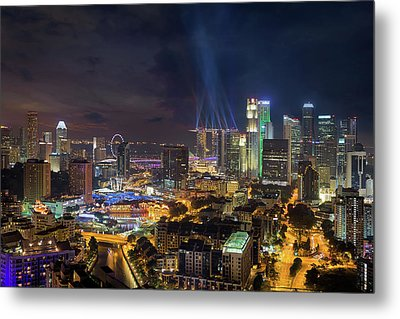 Singapore City Lights Metal Print by David Gn
