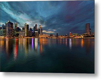 Singapore City Skyline At Evening Twilight Metal Print by David Gn