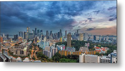 Singapore Cityscape At Sunset Metal Print by David Gn