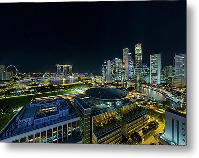 Singapore Modern Skyline By The River At Night Metal Print by David Gn