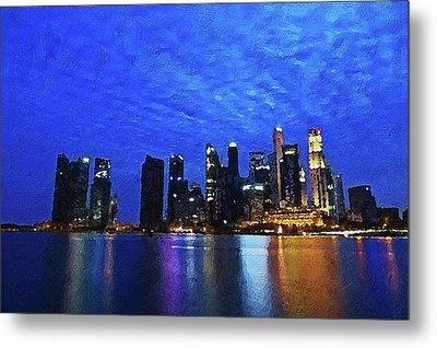 Metal Print featuring the digital art Singapore City by PixBreak Art