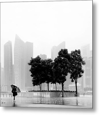 Singapore Umbrella Metal Print