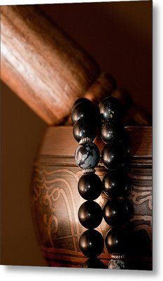 Singing Bowl And Mala In Color Metal Print by Edward Myers