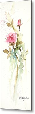 Metal Print featuring the painting Single Stem by Sandra Strohschein