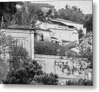 Metal Print featuring the photograph Sintra In Black And White by Julie Palencia